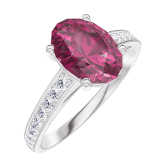 Create Engagement Ring 168108 White gold 9 carats - Ruby Oval 1 Carats - Setting Diamond white
