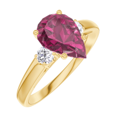 Create Engagement Ring 168221 Yellow gold 18 carats - Ruby Pear 1 Carats - Ring settings Diamond white