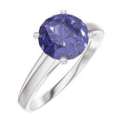 Create Engagement Ring 168404 White gold 9 carats - Blue Sapphire Round 1 Carats
