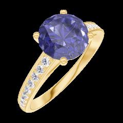Create Engagement Ring 168405 Yellow gold 18 carats - Blue Sapphire Round 1 Carats - Setting Diamond white