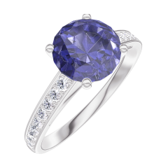 Create Engagement Ring 168408 White gold 9 carats - Blue Sapphire Round 1 Carats - Setting Diamond white