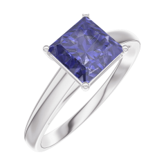 Create Engagement Ring 168504 White gold 9 carats - Blue Sapphire Princess 1 Carats