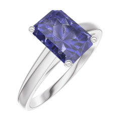 Create Engagement Ring 168604 White gold 9 carats - Blue Sapphire Baguette 1 Carats