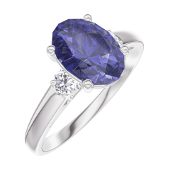 Create Engagement Ring 168724 White gold 9 carats - Blue Sapphire Oval 1 Carats - Ring settings Diamond white