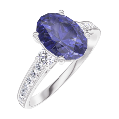 Create Engagement Ring 168728 White gold 9 carats - Blue Sapphire Oval 1 Carats - Ring settings Diamond white - Setting Diamond white