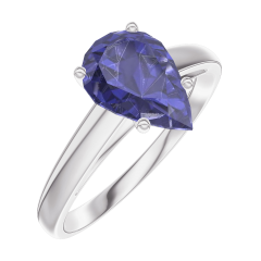 Create Engagement Ring 168804 White gold 9 carats - Blue Sapphire Pear 1 Carats