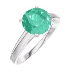 Create Engagement Ring 169003 White gold 18 carats - Emerald Round 1 Carats