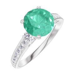 Create Engagement Ring 169027 White gold 18 carats - Emerald Round 1 Carats - Ring settings Diamond white - Setting Diamond white