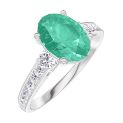 Create Engagement Ring 169327 White gold 18 carats - Emerald Oval 1 Carats - Ring settings Natural Diamond - Setting Natural Diamond