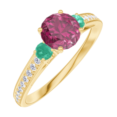 Create Engagement Ring 169601 Pink gold 9 carats - Ruby Round 0.5 Carats - Ring settings Emerald - Setting Diamond white
