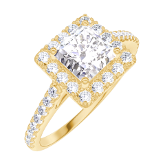 Create Engagement Ring 170053 Gelbgold 750/-(18Kt) - Diamant Prinzess 0.5 Karat - Halo Diamant - Fassung Diamant