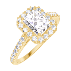 Create Engagement Ring 170101 Yellow gold 18 carats - Diamond white Baguette 0.5 Carats - Halo Diamond white - Setting Diamond white