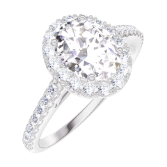 Create Engagement Ring 170151 White gold 18 carats - Diamond white Oval 0.5 Carats - Halo Diamond white - Setting Diamond white