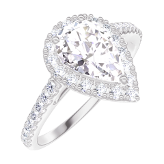 Create Engagement Ring 170199 White gold 18 carats - Diamond white Pear 0.5 Carats - Halo Diamond white - Setting Diamond white
