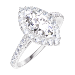 Create Engagement Ring 170247 Weißgold 750/-(18Kt) - Diamant Marquise 0.5 Karat - Halo Diamant - Fassung Diamant