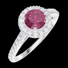 Create Engagement Ring 170296 White gold 9 carats - Ruby Round 0.5 Carats - Halo Natural Diamond - Setting Natural Diamond