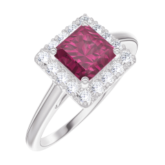Create Engagement Ring 170340 White gold 9 carats - Ruby Princess 0.5 Carats - Halo Diamond white
