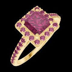 Create Engagement Ring 170361 Yellow gold 18 carats - Ruby Princess 0.5 Carats - Halo Ruby - Setting Ruby