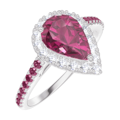 Create Engagement Ring 170491 White gold 18 carats - Ruby Pear 0.5 Carats - Halo Diamond white - Setting Ruby