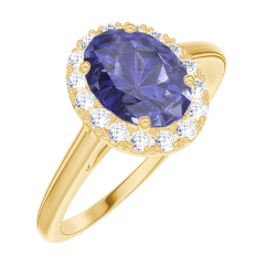 Create Engagement Ring 170721 Yellow gold 18 carats - Blue Sapphire Oval 0.5 Carats - Halo Diamond white