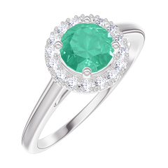 Create Engagement Ring 170868 White gold 9 carats - Emerald Round 0.5 Carats - Halo Diamond white