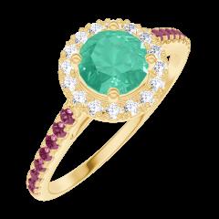 Create Engagement Ring 170873 Yellow gold 18 carats - Emerald Round 0.5 Carats - Halo Diamond white - Setting Ruby