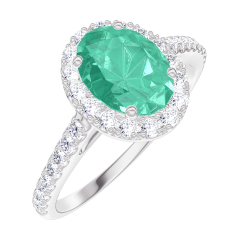 Create Engagement Ring 171016 White gold 9 carats - Emerald Oval 0.5 Carats - Halo Diamond white - Setting Diamond white