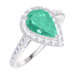 Create Engagement Ring 171064 White gold 9 carats - Emerald Pear 0.5 Carats - Halo Diamond white - Setting Diamond white