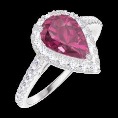 Inel Create 170488 Aur alb 9 carate - Rubin Pară 0.5 carate - Halo Diamant - Încrustare Diamant