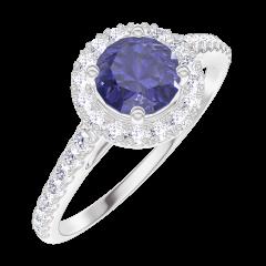 Inel Create 170584 Aur alb 9 carate - Safir albastru rotund 0.5 carate - Halo Diamant - Încrustare Diamant