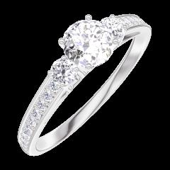 Pierścionek Create Zaangażowanie 160027 Białe złoto 750 - Diament Okrągły 0.3 karat - Kamienie boczne Diament - Oprawa Diament