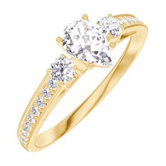 Pierścionek Create Zaangażowanie 160425 Żółte złoto 750 - Diament Gruszka 0.3 karat - Kamienie boczne Diament - Oprawa Diament