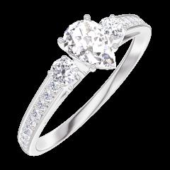 Pierścionek Create Zaangażowanie 160427 Białe złoto 750 - Diament Gruszka 0.3 karat - Kamienie boczne Diament - Oprawa Diament