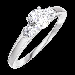 Ring Create 160023 Weißgold 750/-(18Kt) - Diamant Rund 0.3 Karat - Seitliche Steine Diamant