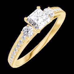 Ring Create 160125 Gelbgold 750/-(18Kt) - Diamant Prinzess 0.3 Karat - Seitliche Steine Diamant - Fassung Diamant