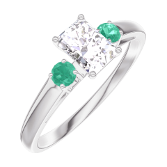 Ring Create 160283 White gold 18 carats - Diamond white Baguette 0.3 Carats - Ring settings Emerald