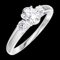 Ring Create 160323 White gold 18 carats - Diamond white Oval 0.3 Carats - Ring settings Diamond white