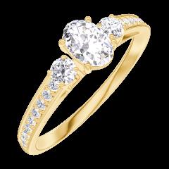 Ring Create 160325 Geelgoud 18 karaat - Diamant Ovaal 0.3 Karaat - Aanleunende edelstenen Diamant - Setting Diamant