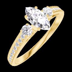 Ring Create 160525 Geelgoud 18 karaat - Diamant Markies 0.3 Karaat - Aanleunende edelstenen Diamant - Setting Diamant