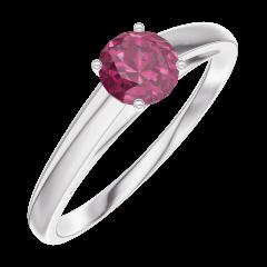 Ring Create 160604 Witgoud 9 karaat - Robijn Rond 0.3 Karaat