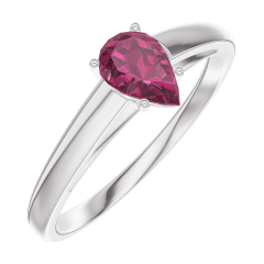 Ring Create 161004 White gold 9 carats - Ruby Pear 0.3 Carats