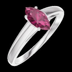 Ring Create 161104 Witgoud 9 karaat - Robijn Markies 0.3 Karaat