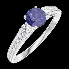 Ring Create 161228 White gold 9 carats - Blue Sapphire round 0.3 Carats - Ring settings Diamond white - Setting Diamond white