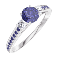 Ring Create 161236 Witgoud 9 karaat - Blauwe saffier rond 0.3 Karaat - Aanleunende edelstenen Diamant - Setting Blauwe saffier