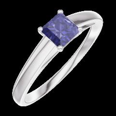 Ring Create 161304 White gold 9 carats - Blue Sapphire Princess 0.3 Carats