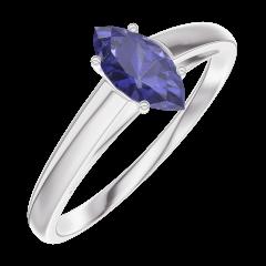 Ring Create 161704 Witgoud 9 karaat - Blauwe saffier Markies 0.3 Karaat