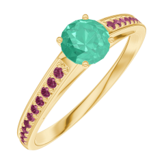 Ring Create 161809 Geelgoud 18 karaat - Smaragd Rond 0.3 Karaat - Setting Robijn