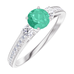 Ring Create 161828 White gold 9 carats - Emerald round 0.3 Carats - Ring settings Diamond white - Setting Diamond white