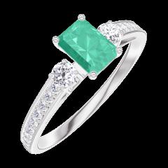 Ring Create 162028 Weißgold 375/-(9Kt) - Smaragd Rechteckig 0.3 Karat - Seitliche Steine Diamant - Fassung Diamant