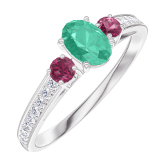 Ring Create 162148 White gold 9 carats - Emerald Oval 0.3 Carats - Ring settings Ruby - Setting Diamond white